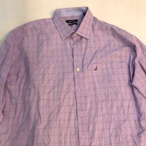 Nautica Purple Blue check dress shirt 17 1/2 34-35
